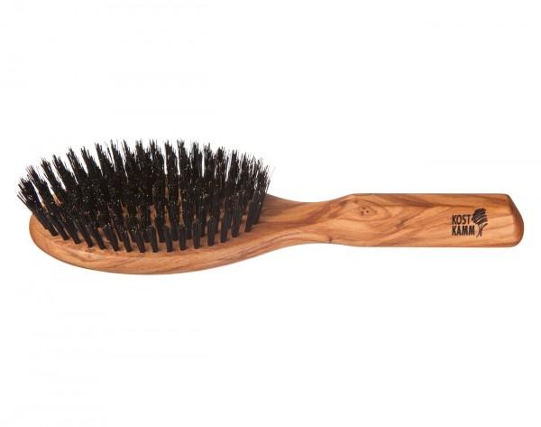 Haarbürste aus Olivenholz mit Wildschweinborsten